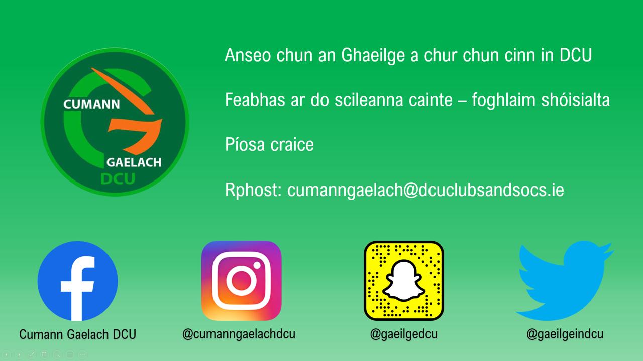 Cumann Gaelach @ Clubs and Socs fair!